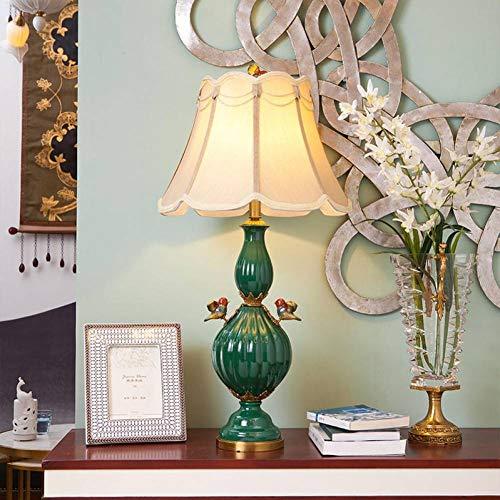 JFHGNJ tafellamp vogel groen oranje keramiek tafellamp slaapkamer koper tafellamp korte moderne pompoenvorm porselein decoratief licht