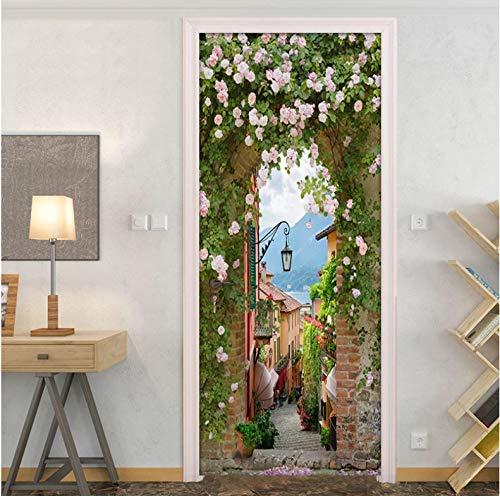 Türtapete Türposter 3D Wandmalerei Stadt Blumen Bewegen PVC Selbstklebend Wandbilder Tür Poster 90 x 200 cm