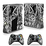 MightySkins Skin Compatible with Microsoft Xbox 360 S Slim + 2 Controller Skins wrap Sticker Skins Chrome Water