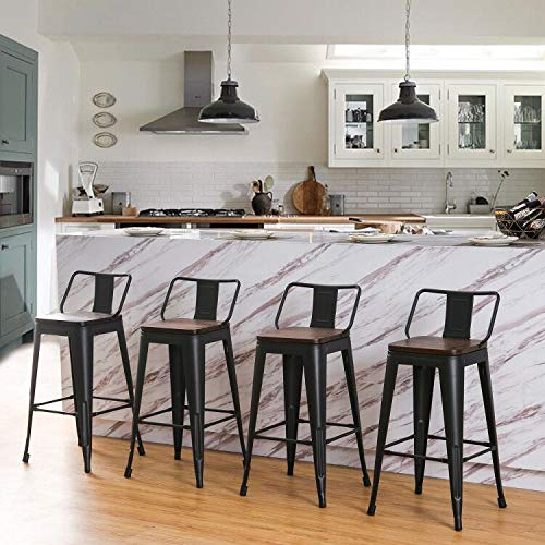 Andeworld Metal Bar Stools Set of 4 Kitchen Counter Stools Bristro Barstools Industrial Bar Stools (26 Inch, Black with Wooden Seats)