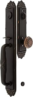 """Imperial Style Tubular Handleset in Oil Rubbed Bronze with Lancaster Knobs and 2 3/8"""" Backset. Antique Door Handle."""