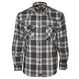 ROCK-IT Apparel® Camisa de Franela de Manga Larga para Hombres Camisa de leñador a Cuadros Fabricada en Europa Pequeño a Cuadros Negro/Blanco/Gris Small
