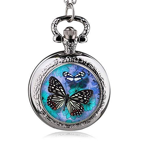 Ketting zakhorloge vintage heren dames kerstcadeau unisex, nieuw patroon vlinder blauwe bloem zilver zakhorloge goede halsketting ketting horloge batterij pullover ketting persoonlijkheid gezicht