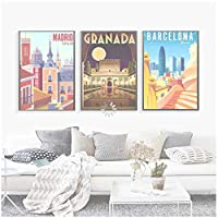 世界的に有名な旅行場所アートポスタースペインバルセロナマドリード市ヴィンテージ壁画キャンバス絵画家の装飾リビングルーム-50x70cmx3フレームなし