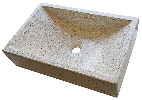 Lavabo de Piedra Blanco similar al granito o mármol - Sobre encimera