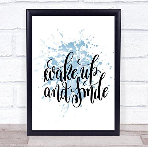Wekker glimlach inspirerende citaat afdrukken blauw aquarel poster Framed White Small