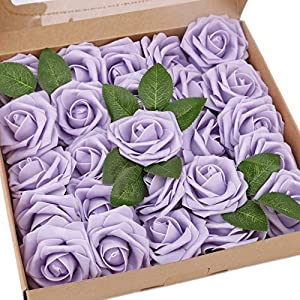 BOMAROLAN Artificial Rose Flowers Real Touch 25pcs Faux Foam Roses Fake Flower Head w/Stem, DIY Wedding Decor Bridal Bridesmaid Bouquets Centerpieces Baby Shower Party Home Decorations (Light Purple)