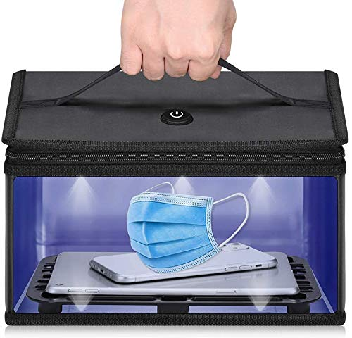 YOUYE UV Lampe Sterilisator Box Large - 2020 Neue UV-UVC Tragbare Sanitizer Tasche - USB Charge 260-280nm Wellenlänge UVC Sanitizing Falttasche für Desinfektion