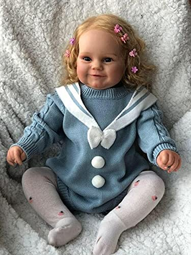Zero Pam Reborn Baby Girls Silicone Dolls 24inch Handmade Toddler Size Weighted Body Newborn Toddler Dolls Real Life Poseable Toys Blue Sweater