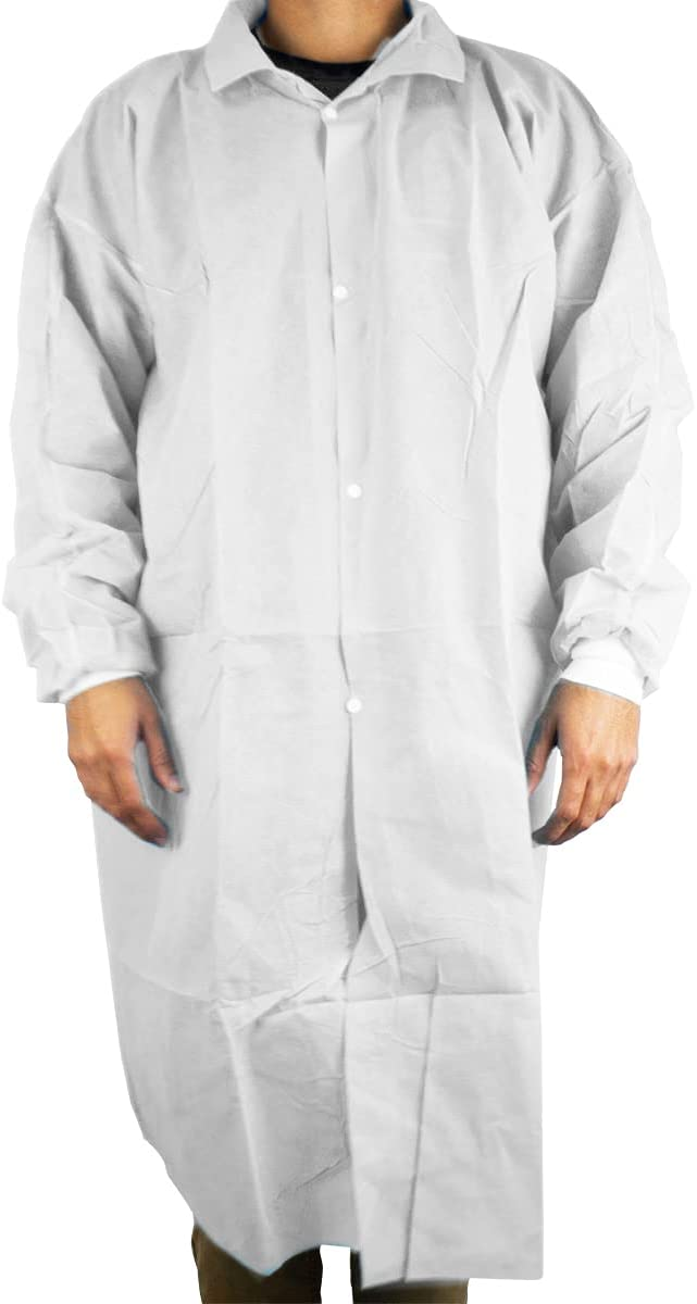 Disposable Mail order Lab Coat 10 50 pcs Res Gown Sanitary Regular discount Protective White