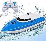 STOTOY Barco RC, Barco de con Control Remoto para Piscinas y Lagos, Mini Lancha Eléctrica de 2.4G HZ para Niños y Adultos, Bote a Motor de Simulación de Radiocontrol al Aire Libre