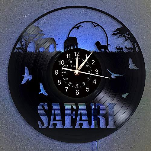 Safari Orologio da parete in vinile - Afrika Animal LED Light 12 'Orologio al quarzo CD in vinile - Decorazioni per interni fatti a mano - Orologio da parete con elefante luminoso a 7 colori.