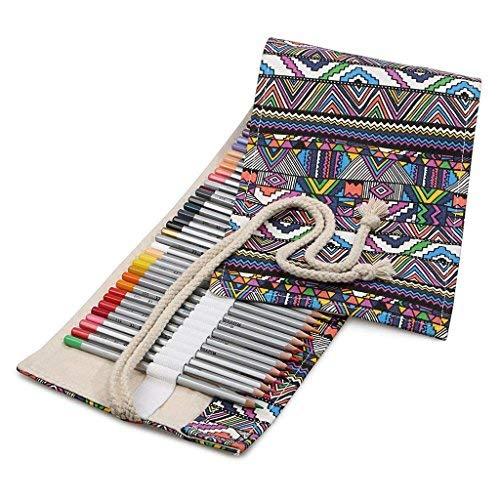 Sac à Crayons 36 Trous Trousse de Crayons de Toile Vintage Sac Rouleau de Stylos Pochette de Rangement pour Crayons de Couleur Professionnel Écritoire Plumier Cadeau d'Anniversaire Noël pour Enfant