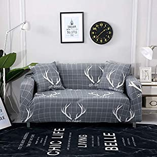 Non-Slip Sofa Covers Stretch Elastic Fabric Chair Loveseat Couch Slipcovers Kids Pets Protector,3 Seater190-230cm,Antlers:Kisaran