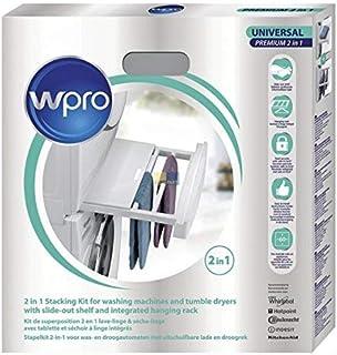 Wpro SKP101 Verbindungsrahmen Waschmaschine/Trockner Säule UNIVERSAL für alle 60cmx60cm Geräte ORIGINAL Whirlpool 484000008545 Zwischenbaurahmen mit Ablage  Wäschehänger SKU: 100078948-000