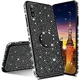 MRSTER Funda para Xiaomi Mi A3, Glitter Bling TPU Bumper Brillante Diamante Protector Case con Soporte Ring Kickstand de 360 Grados Carcasa para Xiaomi Mi A3 / Mi CC9e. GS Black