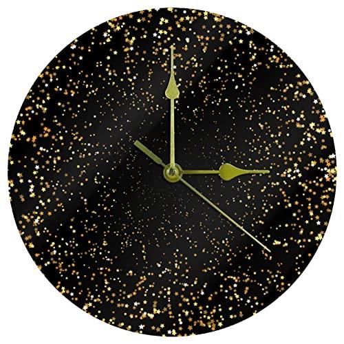 Yoliveya Reloj de pared redondo con diseño de estrellas doradas y brillantes con fondo decorativo y silencioso, para regalo en casa, oficina, cocina, guardería, sala de estar, dormitorio, 25 cm