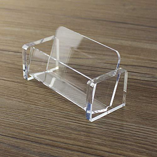 Soporte de acrílico para tarjetas de visita, dispensador de plástico, soporte de exhibición, organizador de tarjetas, caja transparente para escritorio de oficina (1 paquete, transparente)
