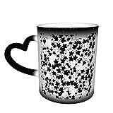 Taza con cambio de patrón de hojas negras, diseño de taza de café, taza de cerámica sensible al calor, taza que cambia de color en el cielo, 11 oz