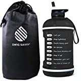 Swig Savvy Motivational Water Bottle, Water Tracker Bottle With Straw, Easy-take-along Water Bottle With Time Marker, Leak Proof, BPA Free Plastic - 2.5L (85 oz) (Black)
