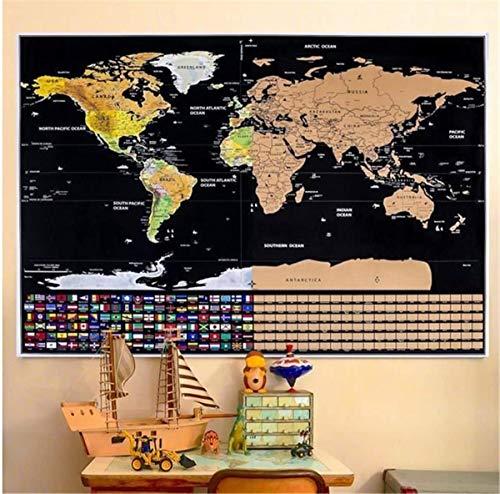 Marbeine - Mappa del mondo da grattare con bandiere di tutti i Paesi, Scratch Off World Map, per i viaggiatori, 82 x 59 cm