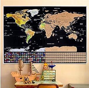 Marbeine Mapa del mundo para rascar, incluye banderas de todos los Países, para viajeros, 82 x 59cm