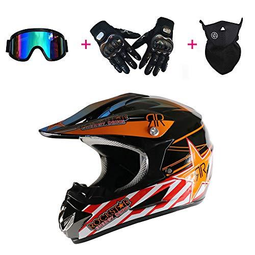 Specialized Sport Motorradhelm Komfortabel Atmungsaktiv Offroad MTB Vollgesichts Dirt Bike Sturzhelm Brille/Winddichte Maske/Handschuhe,XL