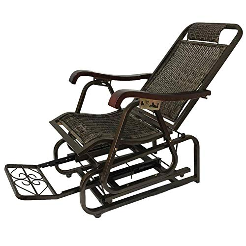 XHCP Jardín al Aire Libre Relax Mecedora Sillones para Todo Tipo de Clima Sillón de salón Plegable Sillas de Mimbre PE Sombrillas Balcón Asientos mecedores, reposapiés Ajustable (Color: Negro, ta
