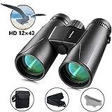 Binocolo 12x42 HD Compatto, Lachesis Binocolo Visione Notturna per Birdwatching, Escursionismo, Caccia, Turismo, Binocolo con Lente FMC incl. Sacchetto di Trasporto, Cordino, Panno per la Pulizia