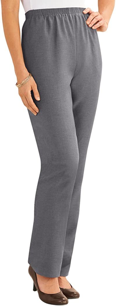 Alfred Dunner Pants – Comfortable Straight Leg Pull-on Pants for Women Gray 14 Petite