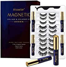 Magnetic Eyelashes with Eyeliner Kit, Natural Look, 10 Pairs of Magnetic Lashes Reusable 4 tubes of Magnetic Eyeliner, Upgraded, Light, Comfortable, Easy to Install and Clean