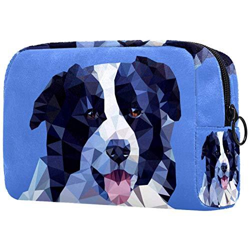 AITAI Bolsa de maquillaje grande bolsa de viaje cosmético organizador abstracto borde Collie Dog Portrait-01