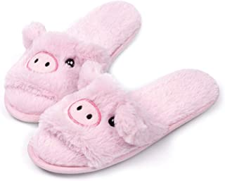 Open Toe Slippers for Girls Cute Fuzzy Fur Animal Summer Slides