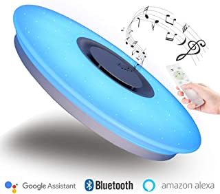 Luz de Techo con Música WiFi Inteligente de Bluetooth, Compatible con Amazon Alexa/Google  Assistant, luces LED de Color RGB Ajustable de 36W Ø40cm, con Control Remoto