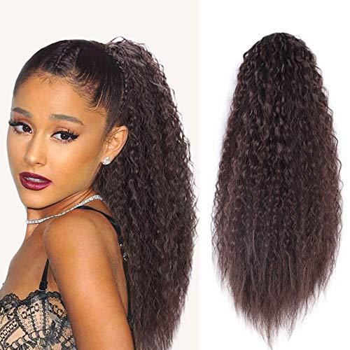 Ponytail Extension Pferdeschwanz Braun Haarteil Afro Kinky Curly Clip mit Kordelzug lang Haarverlängerunge Natürliches Dunkelbraun Perücke Lockige ca.56cm(2/33#) Rotbraun VD056E
