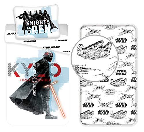 L.T.Preferita Disney Star Wars Blu 3pezzi Set Letto Singolo Copripiumino + Federa + Lenzuola c/Angoli Cotone Biancheria da Letto Bambini