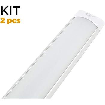 Garage Supermercato Ufficio T11 Lampade da parete con lampada tubo integrata parapolvere Plafoniera LED da Officina Bianco neutro 60cm 30W 6000K 2250LM LED Tubo per Garage