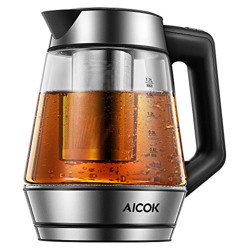 Aicok Electric Kettle, 1.7L (1500W) Tea Kettle with Temperature Control and 2 Hours Keep Warm, LED Light and Removable Stainless Steel Tea Filter, BPA Free, 2 Year Assurance