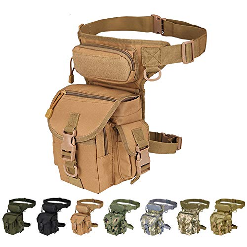 Injoy Multi-Purpose Tactical Drop Leg Bag Tool Fanny Thigh Pack Leg Rig Military Motorcycle Camera Versipack Utility Pouch, Coyote Tan