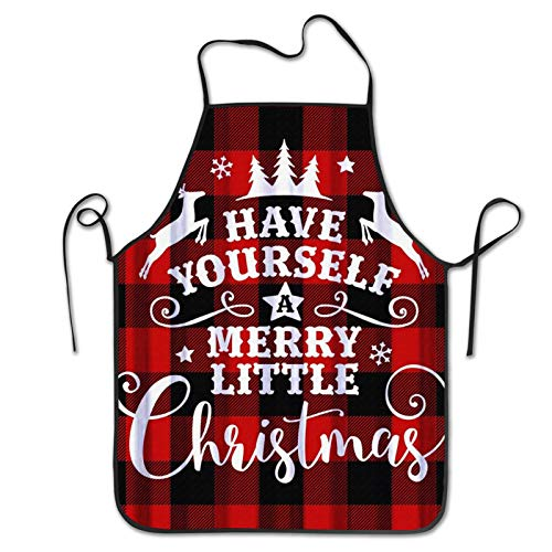 MSGUIDE Bib Apron No Pocket Merry Little Christmas Red Black Buffalo Funny Cute Aprons Cooking Kitchen BBQ Aprons for Men Women Chef, Black
