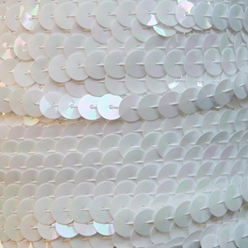 Sequin Trim 8mm flat White Iris Rainbow Iridescent ~ Flat, stitched sequin string, strung by the yard, for embroidery, applique, arts, crafts, bridal wear, embellishment. 15' per pack. Made in USA