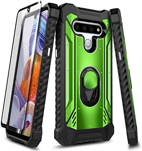 E Began Case for LG Phoenix 5 with Tempered Glass Screen Protector Magnetic Metal Ring Holder product image