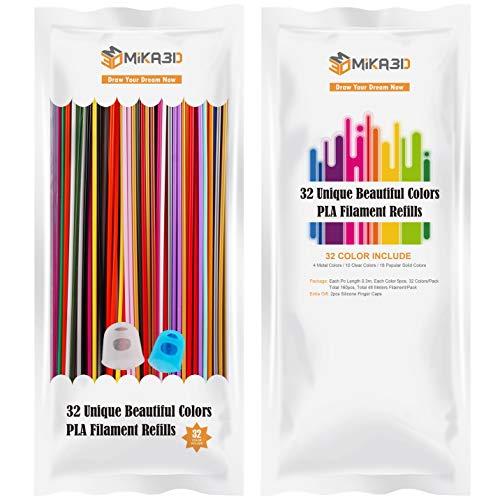 32 Colors 3D Printing Pen PLA Filament Pack, Each 0.3 Meter, Each Color 5pcs, Total 160 Pcs 48 Meters PLA Refills, Fit for 3Doodler Create 3D Pen, with Extra 2 Silicone Finger Caps by MIKA3D