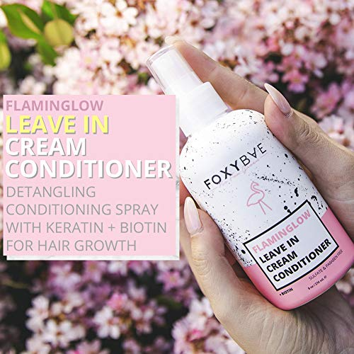 FoxyBae Flaminglow Leave-In Conditioner Cream - Detangling Conditioning Spray with Keratin + Biotin for Hair Growth Enhancer, Curly, Color Treated Hair - 8 oz