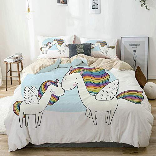 Juego de Funda nórdica Beige, Caballos Pegasus con crines en Colores del arcoíris y alas Sweet Mythological Kids Tale, Juego de Cama Decorativo de 3 Piezas con 2 Fundas de Almohada