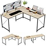 Bestier L-Shaped Computer Desk, 95.2' Two Person Large Gaming Office Desk, Adjustable L-Shaped or Long Desk Two Method with Free Monitor Stand, Home Writing Desk Table Build-in Cable Management (Oak)