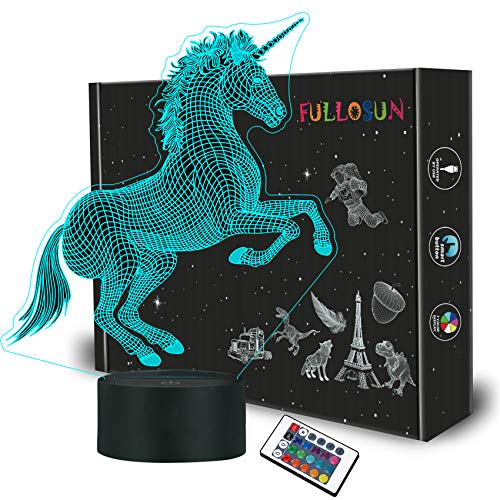 Unicorn Night Light for Kids, 3D Illusion Lamp with Remote Control 16 Colors Changing for Kids Boys Girls Child Room Xmas Birthday Gifts