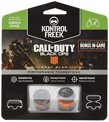 KontrolFreek Call of Duty: Black Ops 4 Grav Slam para mando de XBOX One | Performance Thumbsticks | 1 Alta Altura Convexa, 1 Media Altura Convexa | Gris/Naranja