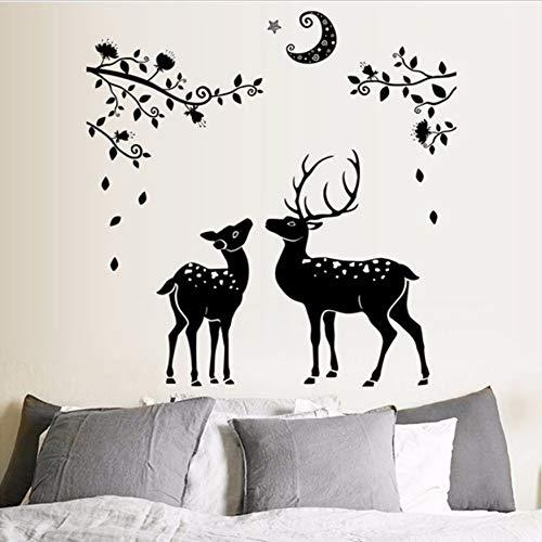 TYKCRt Etiqueta De La Pared Negro Deer Silueta 3D S Decoración del Hogar Ventana del Baño Tatuajes De Pared Autoadhesivo Ramas De Los Árboles Luna Arte Mural Cartel
