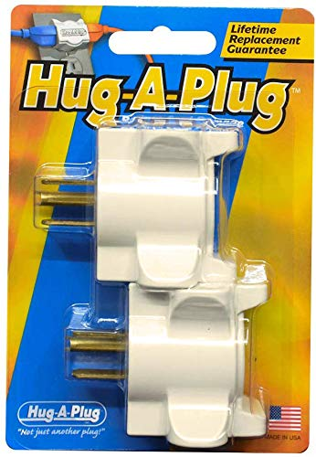 Hug-A-Plug Dual Outlet Wall Adapter, Twin Pack Ivory